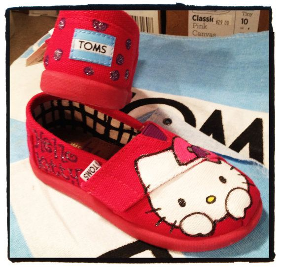 Hello Kitty Custom Tiny Toms Shoes by CustomTOMSbyJC on Etsy, $59.00 this ones for you, Mikayla (: