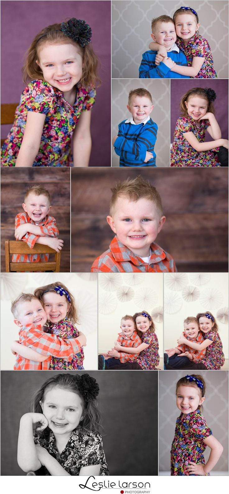 brother and sister photo session in studio