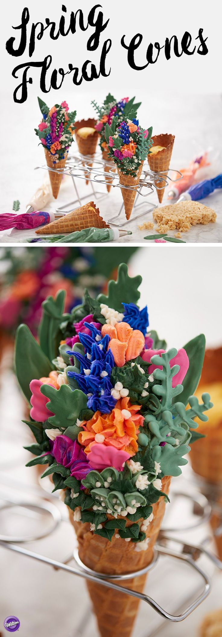 Forget the traditional cupcake, these stunning Spring Floral Cones are one bouquet that will certainly impress mom on Mother's Day. Made using icing and Candy Melts candy, these sweet flower treats are an amazing way to show someone how much you care! Pile your flowers high on top a bed of cake and rice cereal treats to help give your cupcake cones height and dimension.