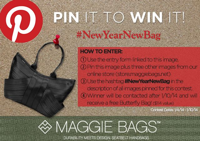 Pin It to Win It! New Year New Bag Pinterest Contest - Maggie Bags  #NewYearNewBag  #NewYearNewBag