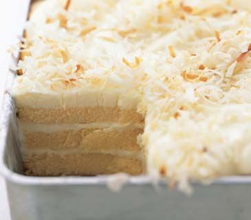 Toasted-Coconut Refrigerator Cake- I want to try this but not put toasted coconut on it, and add coconut extract and almond extract
