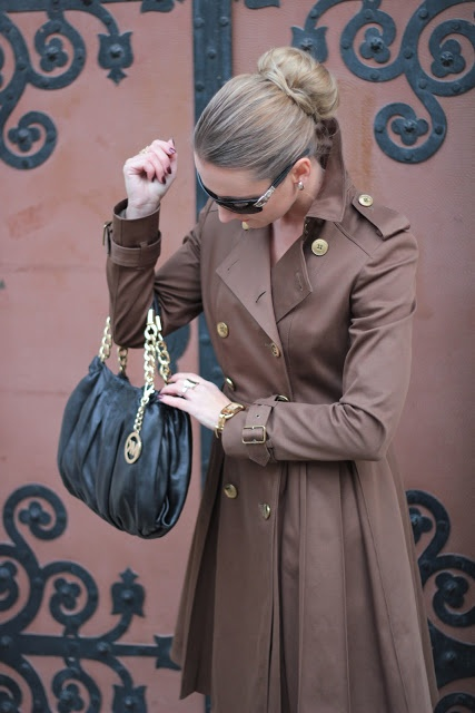 Elegant military style with Michael Kors bag and Burberry Prorsum trench coat.