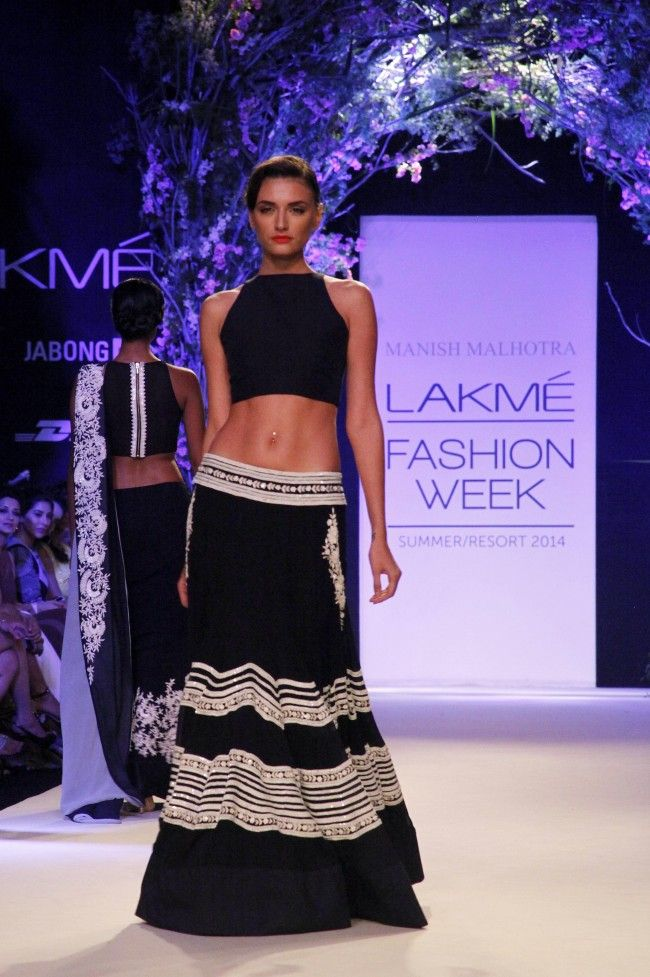 Manish Malhotra black and white lehnga