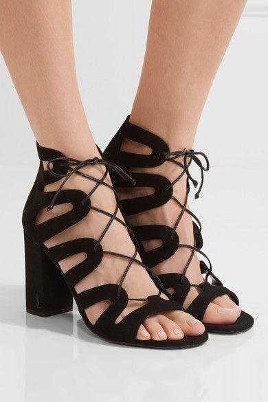 Saint Laurent - Babies Lace-up Leather Sandals - Black - IT