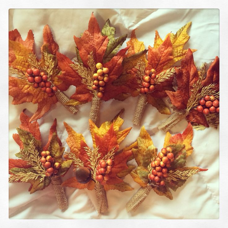 Diy #fall #wedding boutineers made by me! ☺️