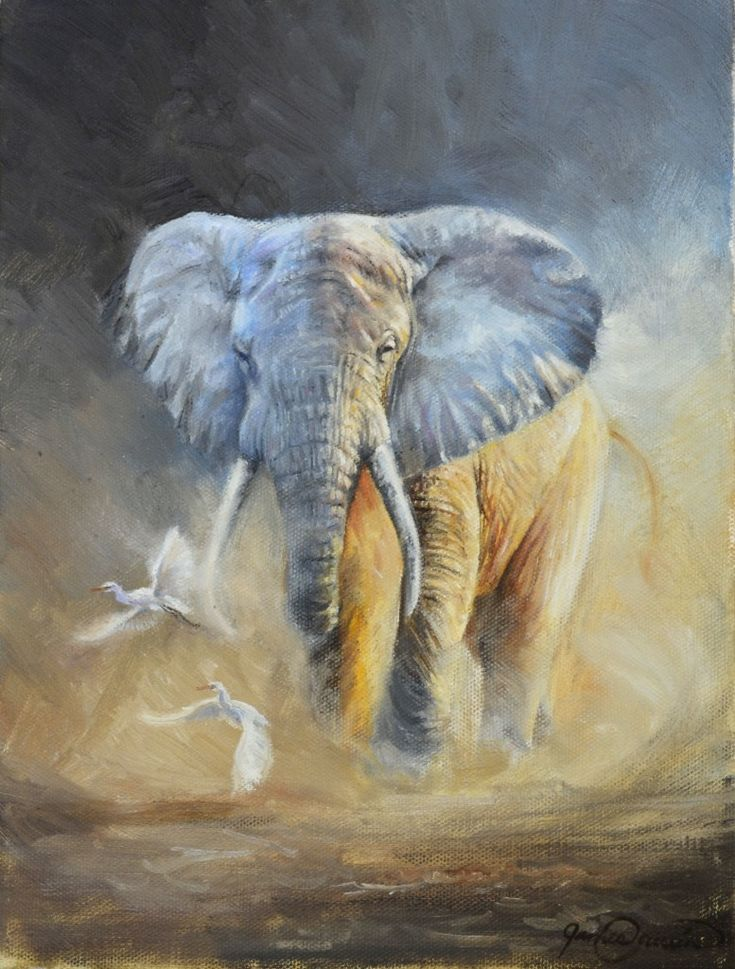 """Enzi"" Oil painting on canvas. 9x12. African elephant in ..."