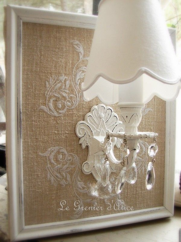 Applique broderie chanvre, abj inclus. Shabby chic deco charme