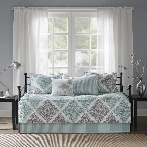Daybed Set Cover Shams Bed Skirt Quilted Pillow 6 Piece Guest Bedding Spare New #MadisonPark #Medallion
