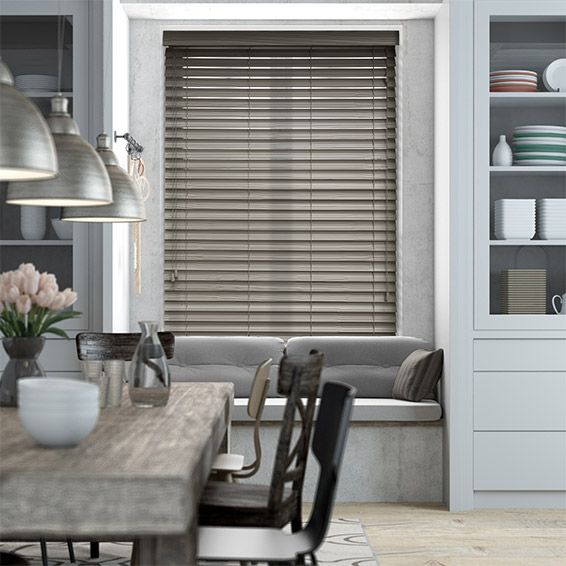 Smoke Whisper Faux Wood Blind - 50mm Slat from Blinds 2go