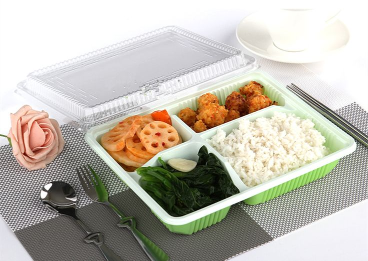 Disposable eco friendly plastic take away custom bento lunch box