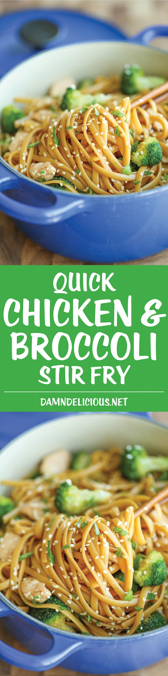 Quick Chicken and Broccoli Stir Fry - A lightning fast noodle stir fry made in just 20 min with simple pantry ingredients. It doesn't get easier or quicker!