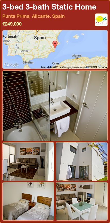 3-bed 3-bath Static Home for Sale in Punta Prima, Alicante, Spain ►€249,000
