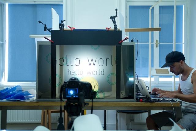 Eyevis Transparent LCD Test Set-Up by Strukt Design Studio: Setup Eyevi, Transparents Lcd, Multi Laying Screens, Lcd Screens, Eyevi Transparents, Lcd Test, Test Setup, Design Studios, Screens Sets Up