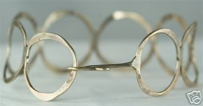 Vintage Modernist Hammered Sterling Circle Bracelet, unknown maker, 1960s