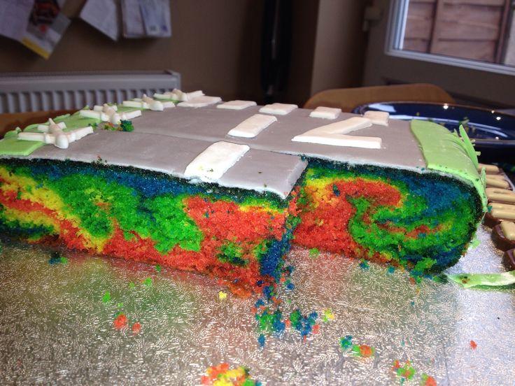 Inside of runway cake! Vanilla flavour rainbow sponge cake.