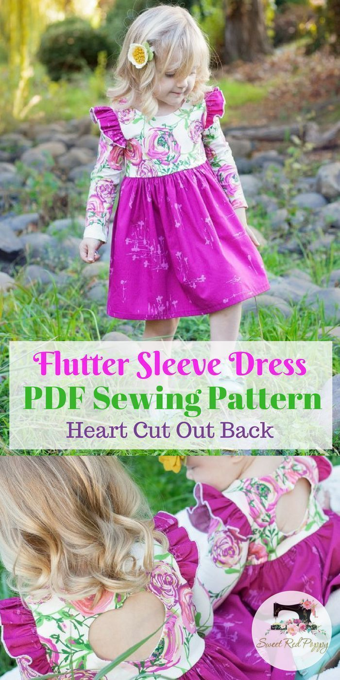 Flutter Sleeve Dress with Heart Cut Out PDF Sewing Pattern