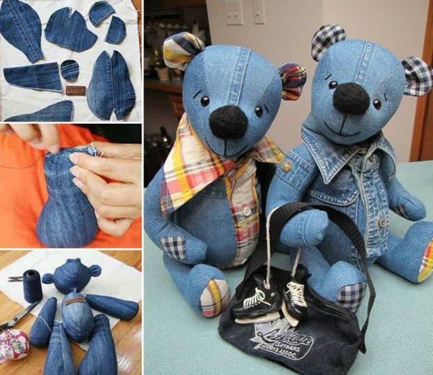 Recyclez un vieux jean pour fabriquer une jolie peluche de l'ours Teddy