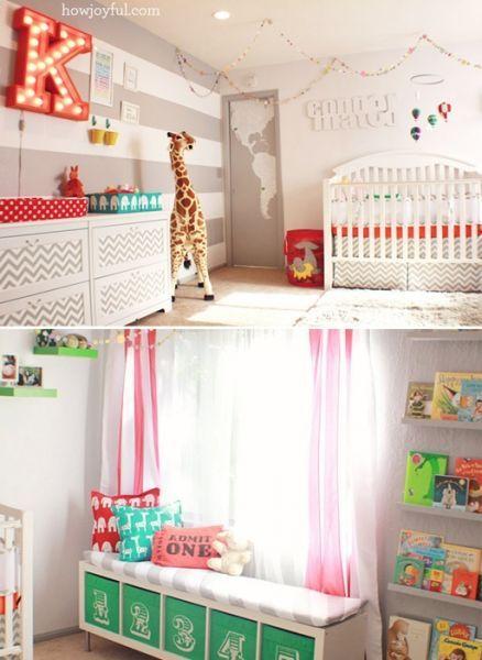 You can never go wrong with a fun Garland! Gender Neutral Circus Nursery by How Joyful via lilblueboo.com