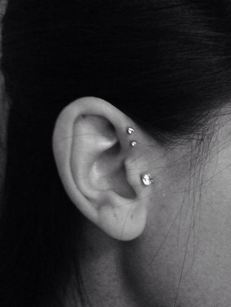 Double forward helix piercing !! Finally did it!