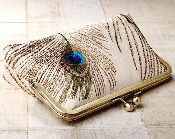Piume di pavone clutch bag personalizzato borsa di di RedRubyRose