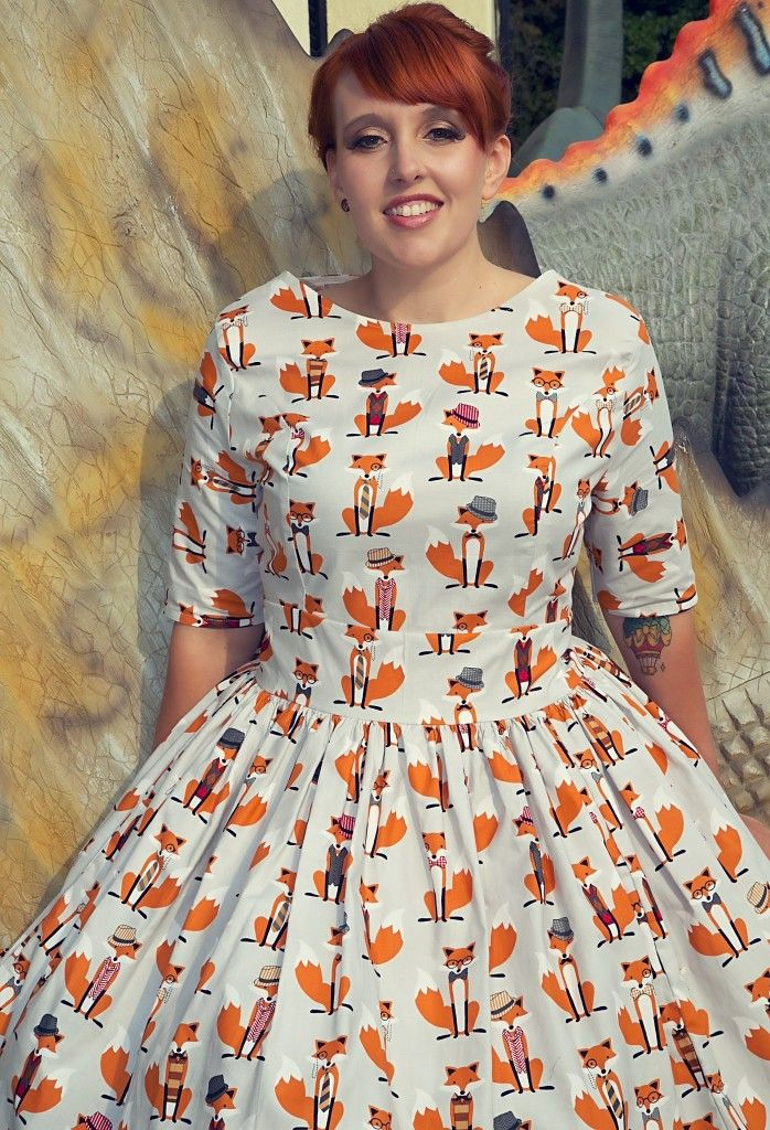 Foxy Foxes 1950s style dress with circular skirt, in sizes UK 6-20, made in the UK in a retro style with 100% cotton
