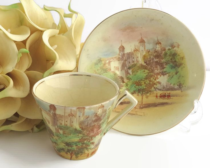 Vintage cup and saucer, Royal Winton Grimwades duo, Tower of London scenes with tiny orange soldiers in relief, England, 5443, 1930s by CardCurios on Etsy