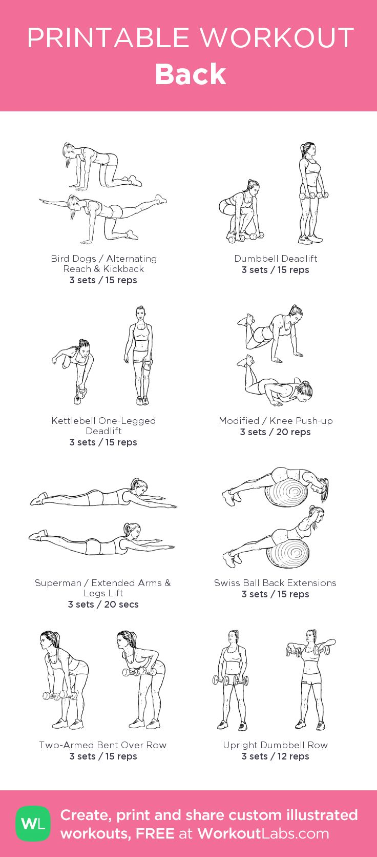 Back –my custom workout created at WorkoutLabs.com