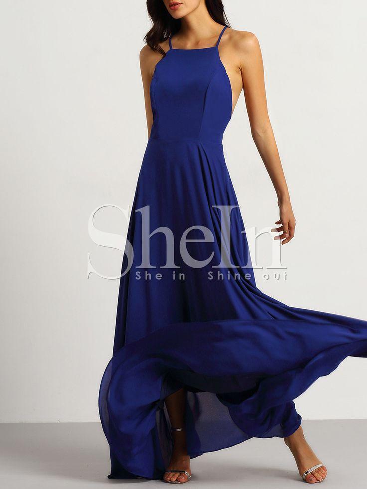 Vestido+tirante+fino+sin+espalda+maxi+-azul+27.24