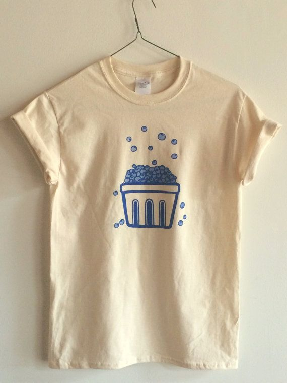 Hand Printed and Hand Drawn! This is a 100% cotton screen printed UNISEX t shirt with a hand drawn basket filled with blueberries! Its perfect for