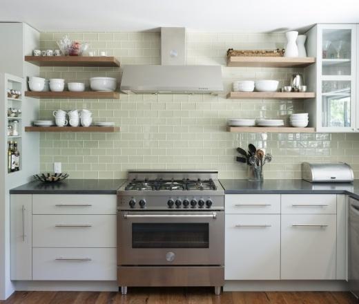 Cabinet pulls  clean subway tile    Modern U-shaped Teal kitchen, light blue cabinets, $50,000 - $100,000, Hello Kitchen, Austin