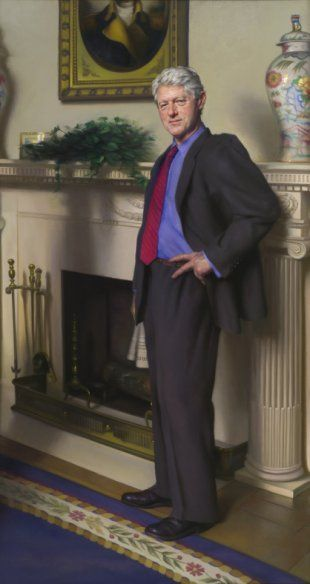 Bill Clinton's official portrait includes shadow of Monica Lewinsky's infamous blue dress, artist says