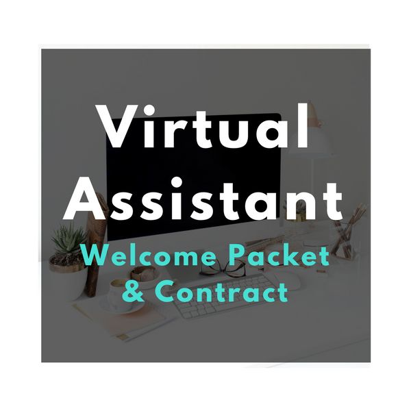 The virtual assistant welcome packet and contract is a 7 page, fully customizeable Word document. In your instant download you will receive:   	Welcome Letter to your new client  	List of Virtual Assistant Services  	A Policies and Procedures Manual  	A sample Rates & Fees Sheet  	New Client Questionnaire / Intake Form  	Extensive Virtual Assistant Contract     NOTE: Contract not pictured. The welcome packet pictured has been customized to fit my brand with my fonts, brand colors and...