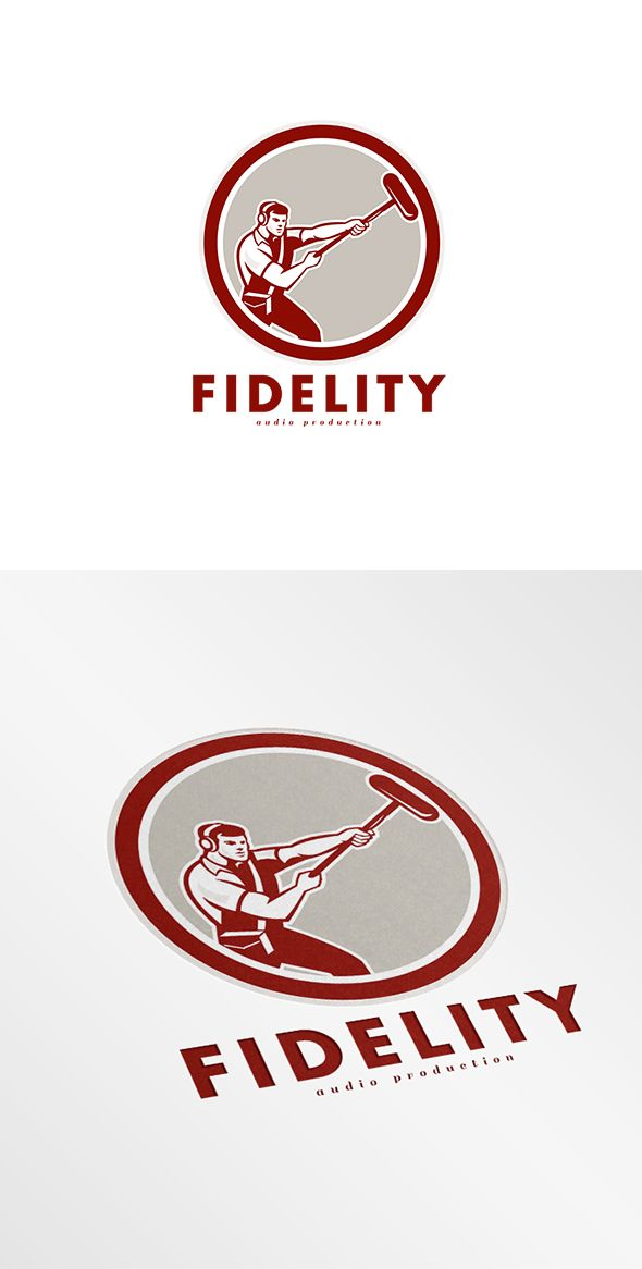 Fidelity Audio Production Logo. Logo showing illustration of a soundman film crew worker with headphone holding a telescopic microphone set inside circle on isolated background done in retro