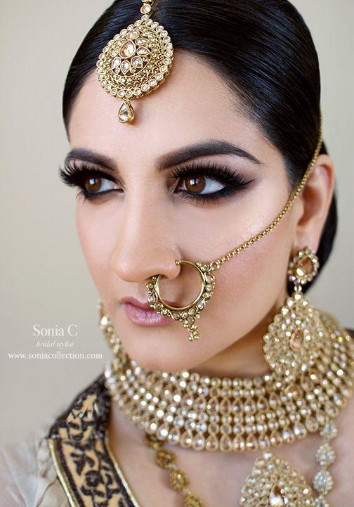 Bridal hair and makeup, Smoky eyes, lashes, nose ring, matte kundan jewelry, indian bridal makeup, indian bride, pakistani bridal makeup, pakistani bride, sonia c makeup, sonia c bridal stylist