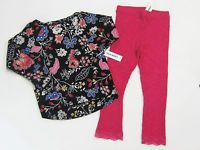 NWT Old Navy Girls 4 4t Black Flower Top & Pink Ribbed Lace Leggings