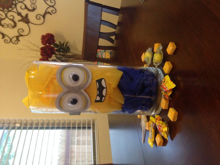 Minion centerpiece. Found goggles at Party City :)