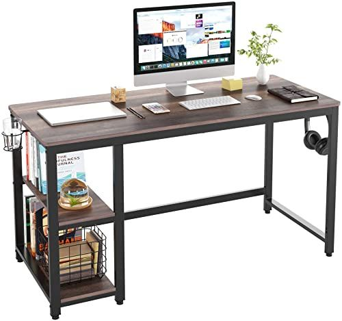 New Homecho Industrial Computer Desk With 2 Shelves 55 Inch Writing Desk With Storage Wood Laptop Study T In 2020 Computer Desk With Shelves Home Desk Dark Wood Desk
