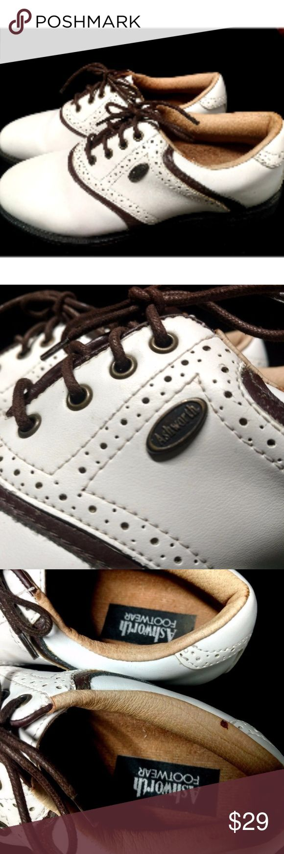 Women's Ashworth Golf Shoes ASHWORTH GOLF SHOES   COLOR: WHITE & BROWN EXCELLENT CONDITION! SIZE: 7 1/2   MADE IN BRAZIL Ashford Shoes Athletic Shoes