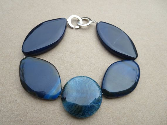 Blue Agate Gemstone Bracelet Gemstone Agate by KBrownJewellery  www.kbrownjewellery.etsy.com #christmas #gifts