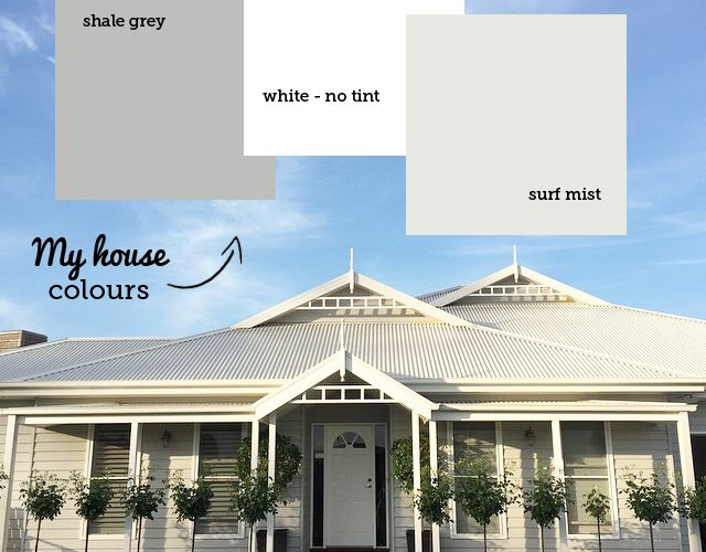 Grey weatherboard house colours. The weatherboard has been painted SHALE GREY. She used Taubmans Endure in full strength SHALE GREY. It doesn't matter what brand you use, as long as it's tinted 'Colorbond Shale Grey roof colour is SURFMIST, matched the gutters and fascia to this.  The window frames, shutters, posts and fretwork are WHITE. No tint.