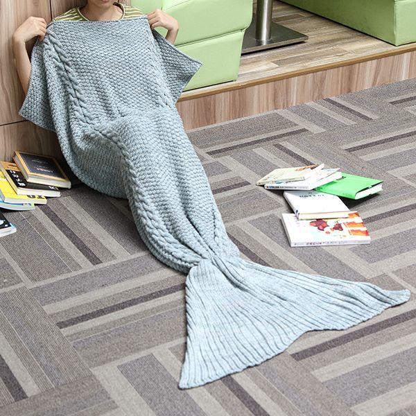 80x190CM Adult Yarn Knitted Mermaid Tail Blanket Handmade Crochet Throw Super Soft Sofa Bed Mat