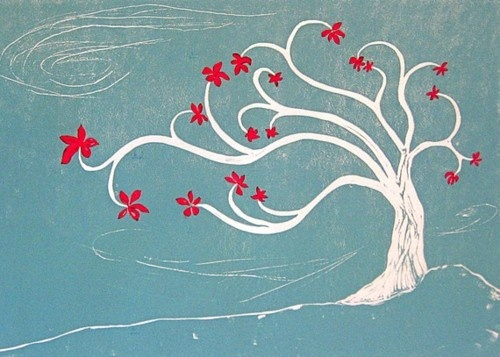Beautiful tree linocut