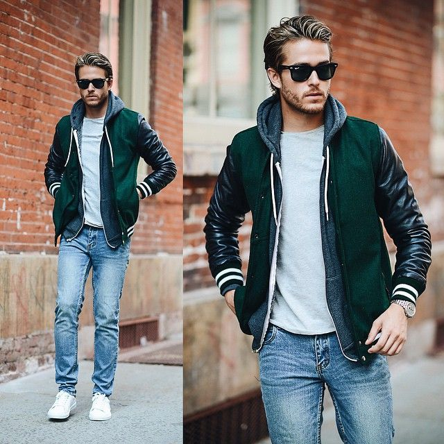 Adam Gallagher x Varsity jackets are always a good idea✌ tap for outfit deets. See more menswear & travel inspo on iamgalla.com smile emoticon @npierce88 ) #mensfashion
