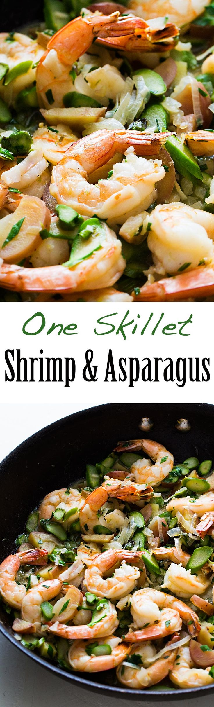 Skillet Shrimp and Asparagus, only use one pan! Quick, easy, and delicious, perfect for a midweek meal. On SimplyRecipes.com