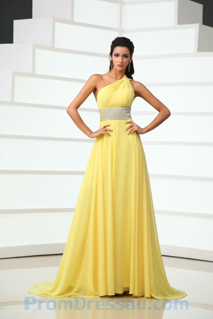 13 best bridesmaid dresses images on pinterest formal dresses one shoulder yellow chiffon evening dress with sparkle detail ombrellifo Images