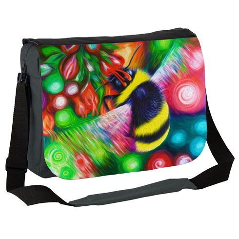 Bumble Bee and Flowers Messenger Bag by simon-knott-fine-artist at zippi.co.uk