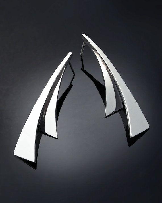 silver dangle earrings, statement earrings, Argentium silver, artisan earrings, eco-friendly, modern earrings, artisan earrings - 2410