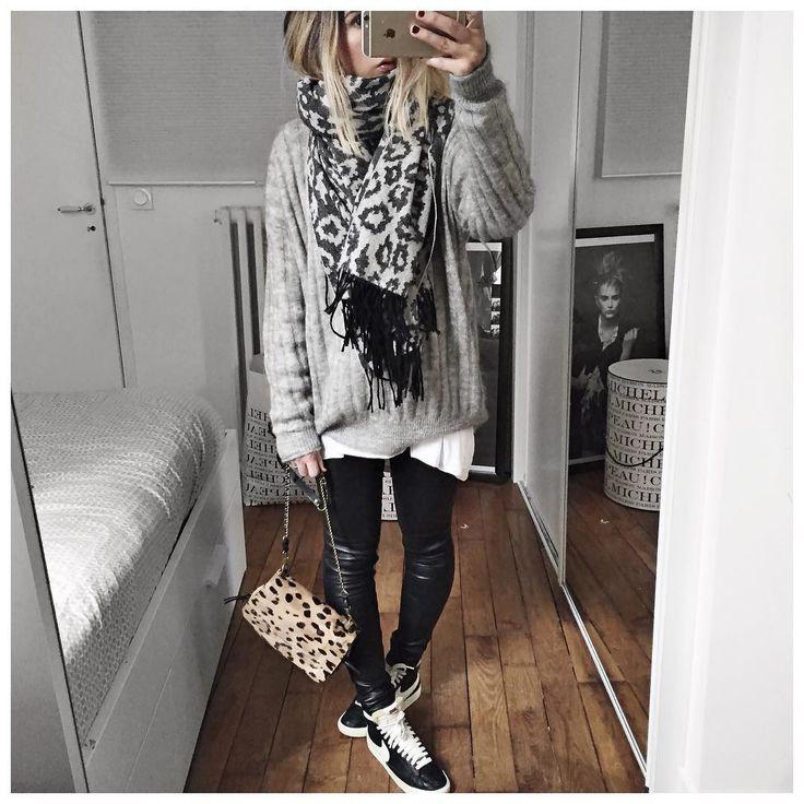 """""""Ootd • Wool Scarf #thekooples (on sale on @thekooplesofficial) • Knit #designersremix (on @cyrielleforkure) • Leather Pant #thekooples (on sale on…"""""""
