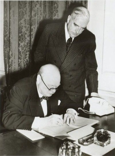 Prime Minister of Australia Sir Robert Menzies and Prime Minister of the United Kingdom Sir Winston Churchill at 10 Downing Street during World War Two in 1941.  Source www.nla.gov.au (National Library of Australia)