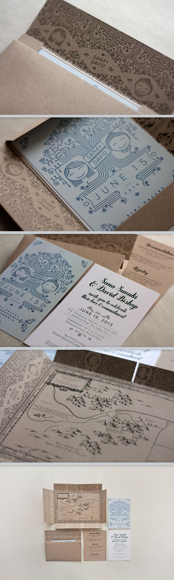 wedding invitation set with map that becomes the envelope. I love how it looks like it's from Lord of the Rings or Narnia!